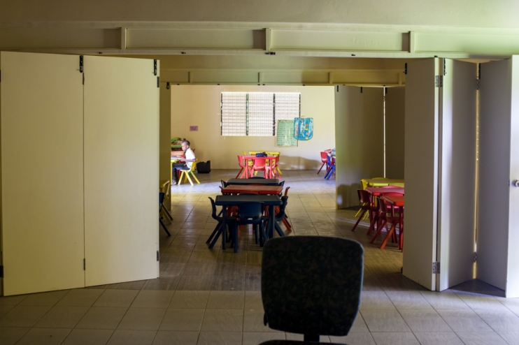 The three classrooms can be opened into a multi-purpose larger room.