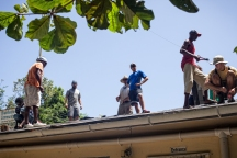 Working on the Community Center's roof