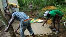 Pouring concrete pad for water tank