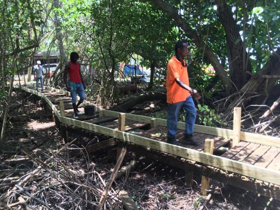 Work is underway to build the new boardwalk