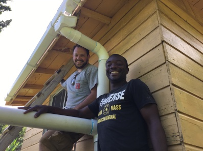 Dion and Will finishing the pipe configuration for the last install of the week.