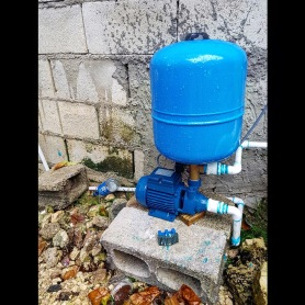 Solar pump for the bathroom we'd started back in October, which now has running water!