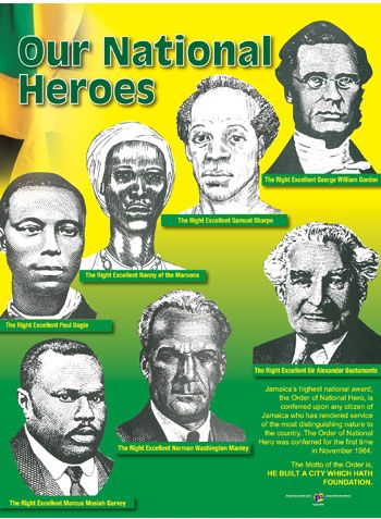 Image of the seven national heroes with a Jamaican flag in the background
